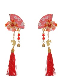 Fashion Big Red Fan Flower Tassel Hair Clip 1 Pair