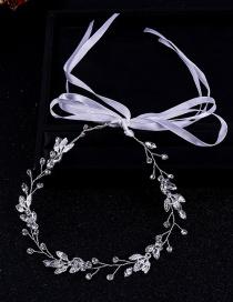 Fashion Silver Leaf-studded Hair Band