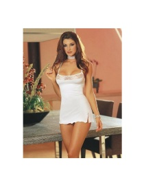 Fashion White Stitching Lace Split Fun Pajamas