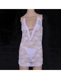 Fashion White Stitching Bud Silk Yarn Erotic Underwear