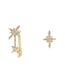 Fashion Gold S925 Silver Needle Asymmetric Eight-pointed Star Stud Earring