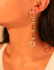 Fashion Gold Alloy Letter Hello Earrings