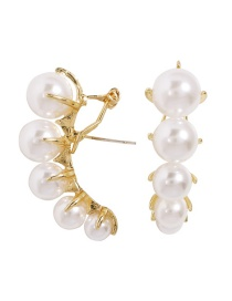 Fashion Gold Alloy Inlaid Pearl Stud Earrings