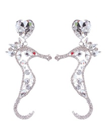 Fashion White K Alloy-studded Pierced Seahorse Stud Earrings