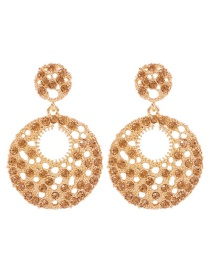 Fashion Gold Alloy Hollow Ring Stud Earrings