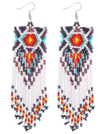 Fashion Color Geometric Woven Rice Earrings
