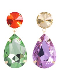 Fashion Colored Water Droplets Alloy Studded Geometric Earrings