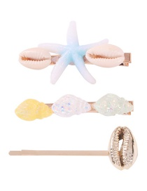 Fashion Blue Alloy Shell Resin Starfish Conch Hairpin Set