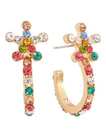 Fashion Gold Color Drill Alloy Diamond Flower C-shaped Earrings