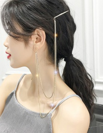 Fashion Gold Alloy Diamond Earrings Hairpin Integrated Chain