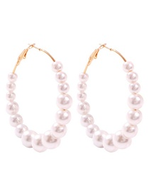 Fashion Pearl White String Pearl Alloy Earrings