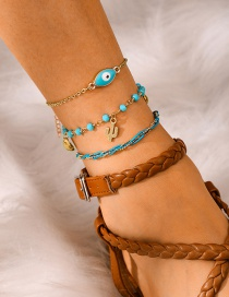 Fashion Gold Woven Rice Beads Eye Cactus Shell Multi-layer Anklet