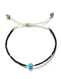 Fashion Black Woven Rice Beads Rope Geometric Turquoise Anklet