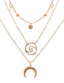 Fashion Gold Horn Surf Three-layer Necklace