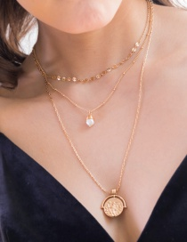 Fashion Freshwater Pearl + Roman Coin Shell Conch Natural Stone Head Pearl Multi-layer Necklace