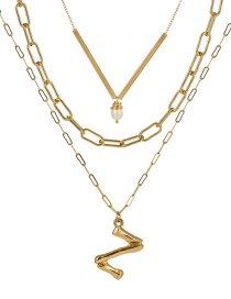 Fashion Z Gold Letter Natural Pearl Multi-layer Necklace