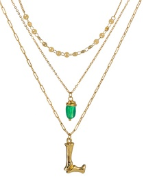 Fashion L Gold Letter Green Natural Stone Multi-layer Necklace