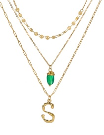 Fashion S Gold Letter Green Natural Stone Multi-layer Necklace