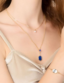 Fashion Gold + Blue Diamond Crystal Cluster Pearl Double Layer Necklace