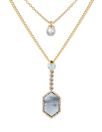 Fashion Gold + White Turquoise Diamond Crystal Cluster Pearl Double Layer Necklace