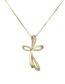 Fashion Gold Imitation Ribbon Set With Zircon Copper Gilded Cross Necklace