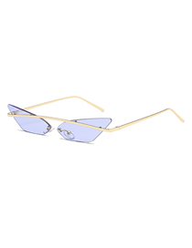 Fashion Transparent Purple Cat Eye Metallic Color Film Sunglasses