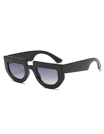 Fashion Black Frame Gradient Gray Irregular Thick-edged Sunglasses