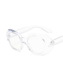 Fashion Transparent Frame Transparent Film Oval Particle Lens Sunglasses