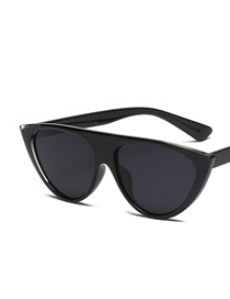 Fashion Black Frame Black Gray Piece Cat Eye Transparent Mirror Corner Sunglasses