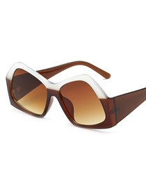 Fashion White Coffee Box Big Box Polygon Sunglasses