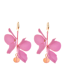 Fashion Pink Alloy Double-layer Flower Earrings