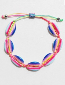 Fashion Rainbow Color Alloy Shell Weave Bracelet