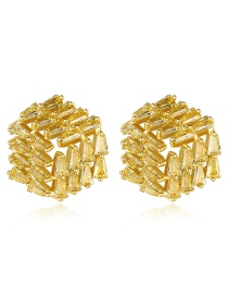 Fashion Yellow Ladder Zirconium Stud Earring