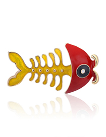 Fashion Yellow Fish Bone Drop Oil Animal Brooch