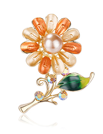 Fashion Color Crystal Pearl Drip Flower Brooch