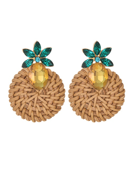 Fashion Khaki Alloy-studded Wood Rattan Woven Round Drop Earrings