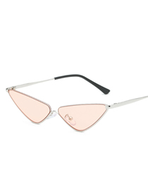 Fashion Powdered Film Small Box Ocean Piece Metal Triangle Sunglasses