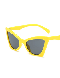 Fashion Yellow Frame Black Gray Piece Cat Eye Sunglasses