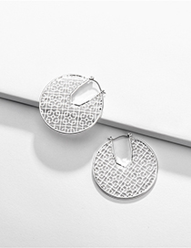Fashion Silver Geometric Round Openwork Stud Earrings