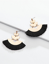 Fashion Black Alloy Geometric Fan-shaped Multi-layer Cotton Ear Tassel Ear Stud
