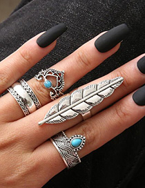 Fashion Silver Geometric Leaf Openwork Crown Turquoise Ring Four-piece Set