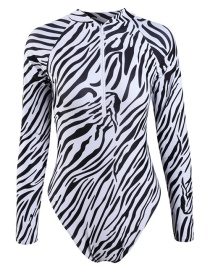 Fashion Black And White Striped Print One-piece Swimsuit