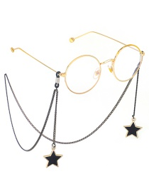 Fashion Black Hanging Neck Big Five-pointed Star Chain Glasses Chain