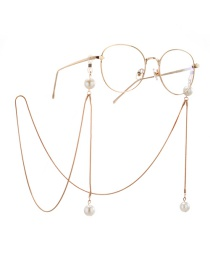 Fashion Gold Snake Chain Hanging Neck Pearl Glasses Chain