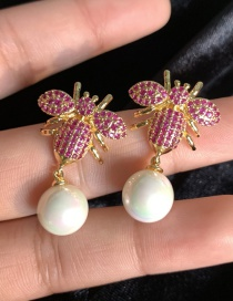 Fashion Red S925 Silver Needle Bee Pearl Inlaid With Zircon 18k Gold Earrings