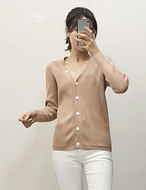 Fashion Khaki Button Knit Cardigan