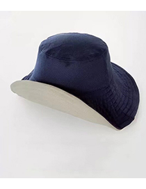 Fashion Navy Blue + Beige Double-sided Fisherman Hat
