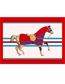 Fashion Red Horse Printed Silk Scarf Sunscreen Shawl