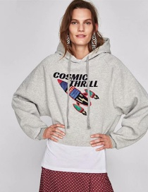Fashion Gray Rocket Embroidered Letter Print Hooded Sweater