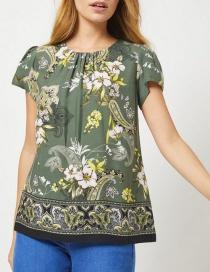 Fashion Green Flower Print Shirt